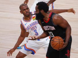 Chris Paul of the OKC Thunder defends James Harden of the Houston Rockets in Game 4. (Image: Kevin C. Cox/Getty)