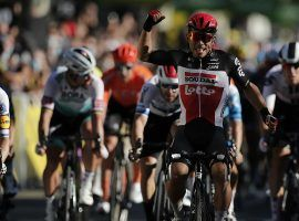 Lotto Soudal's Caleb Ewan wins a sprint to the finish in the Tour de France Stage 3 at Sisteron. (Image: AP)