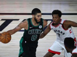 Boston Celtics forward Jayson Tatum drives by Toronto Raptors guard Kyle Lowry in Game 1. (Image: Kim Klement/USA Today Sports)
