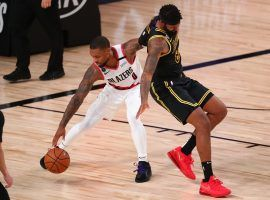 Portland Trail Blazers guard Damian Lillard during Game 3 against the LA Lakers in Orlando. (Image: Getty)