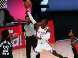 Dennis Schroder of the OKC Thunder drives to the basket against the Houston Rockets in Game 4. (Image: Getty)