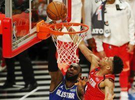 Giannis 'Greek Freak' Antetokounmpo blocks LeBron James during the NBA All-Star Game. (Image: Porter Lambert/Getty)