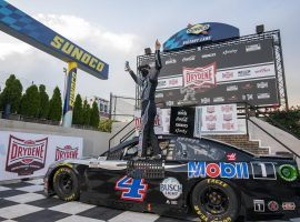 Kevin Harvick dominated the field at Dover to pick up his seventh win of the NASCAR Cup Series season. (Image: Jason Minto/AP)