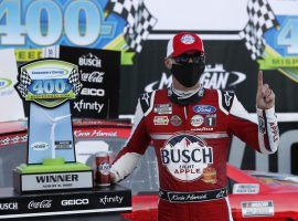 Kevin Harvick won the Consumers Energy 400 on Sunday to cap off a sweep of two races over the weekend in Michigan. (Image: Paul Sancya/AP)