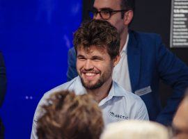Magnus Carlsen came from behind during the seventh set blitz tiebreakers to defeat Hikaru Nakamura and win the Tour Final. (Image: Crystal Fuller/Saint Louis Chess Club)