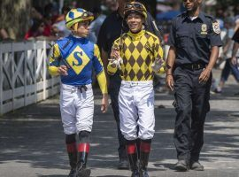 Irad Ortiz Jr. (left) and brother Jose, entered the weekend tied for the Saratoga riding title with 33 wins apiece. The brothers will remain at Saratoga and pass up riding the Kentucky Derby. (Image: Skip Dickstein/Times Union)