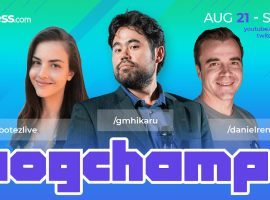 WFM Alexandra Botez, GM Hikaru Nakamura, and IM Daniel Rensch (left to right) will provide commentary and coaching for the Pogchamps 2 online chess tournament. (Image: Chess.com)