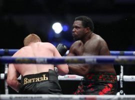 Alexander Povetkin (left) knocked out Dillian Whyte (right) on Saturday, improving the chances of a heavyweight unification bout in 2021. (Image: Mark Robinson/Matchroom Boxing)