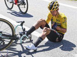 Slovenia's Primoz Roglic crashes at the Criterium du Dauphine, lead up race to the Tour de France. (Image: Cor Vos/AP)
