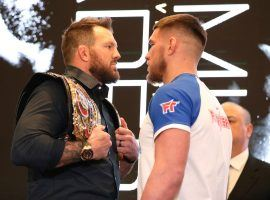 Ryan Bader (left) will defend his Bellator light heavyweight title against Vadim Nemkov on Friday at Mohegan Sun. (Image: Gregory Payan/AP)