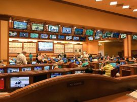 The South Point Race Book is one of 82 Nevada race books that will book Kentucky Derby wagers outside of the national pari-mutuel pool. The state's race books and Churchill Downs Inc. are 10 months into a stalemate over the amount CDI wants per-dollar wagered. (Image: South Point)