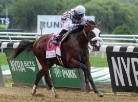 Tiz the Law opens as the even-money favorite for Saturday's Grade 1 Travers Stakes at Saratoga. He is 3-for-3 this year, including this decisive Belmont Stakes win in June. (Image: The Saratogian)