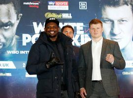 Dillian Whyte (left) will take on Alexander Povetkin (right) in a top 10 heavyweight boxing matchup on Saturday. (Image: Martin Rickett/PA/Getty)