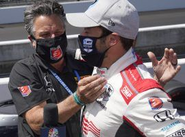 Marco Andretti is congratulated by his father, Michael as he captured the pole for the Aug. 23 Indy 500 on Sunday, and saw his odds improve to 10/1 to win the race. (Image: AP)