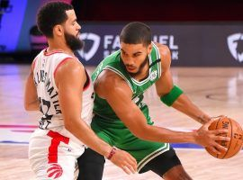 Toronto Raptors guard Fred VanVleet defends Boston Celtics forward Jayson Tatum. (Image: Getty)