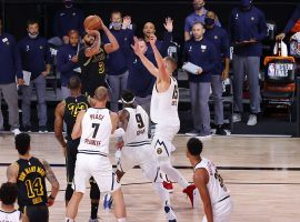 Anthony Davis of the LA Lakers squares up for a buzzer-beater against the Denver Nuggets in Game 2. (Image: Kevin C. Cox/Getty)