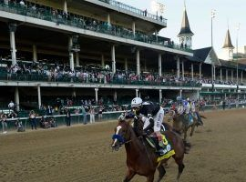 Authentic and John Velazquez led the Kentucky Derby at every post en route to upsetting heavy favorite Tiz the Law. (Image: Churchill Downs/Coady Photography)