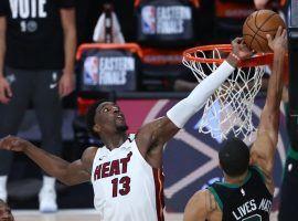 Miami Heat forward Bam Adebayo blocks Boston Celtics forward Jayson Tatum in Game 1. (Image: AP)