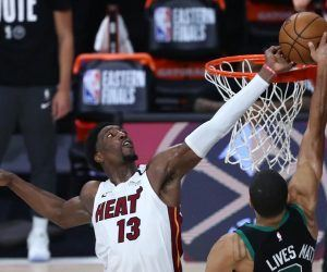 Bam Adebayo Block Blocked Shot Miami Heat Boston Celtics