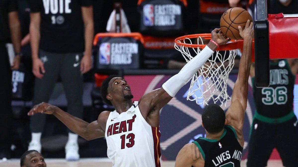 Bam Adebayo Block Blocked Shot Miami Heat Boston Celtics