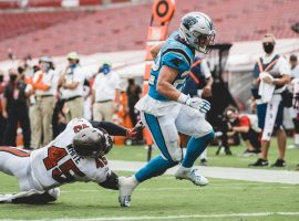 Carolina Panthers RB Christian McCaffrey will miss several weeks due to an ankle injury against the Tampa Bay Bucs. (Image: Brandon Todd/Getty)