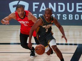 Chris Paul of the OKC Thunder blows by Eric Gordon of the Houston Rockets in Game 6. (Image: AP)