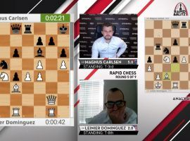 Magnus Carlsen holds a one-point lead after two days of play in the 2020 Saint Louis Rapid & Blitz chess tournament. (Image: Saint Louis Chess Club/YouTube)