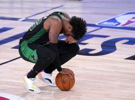Boston Celtics guard Marcus Smart reacts to another loss to the Miami Heat in the Eastern Conference Finals. (Image: Mark J. Terrill/AP)