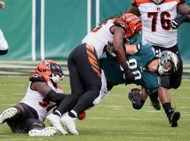Philadelphia Eagles TE Dallas Goedert gets tackled by the Cincinnati Bengals in Week 3. (Image: Tim Tai/Getty)