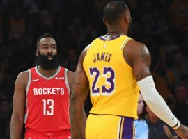 James Harden of the Houston Rockets and LeBron James of the LA Lakers at Staples Center in 2019. (Image: Getty)