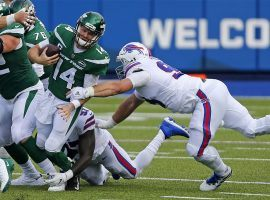 The Buffalo Bills defense harasses NY Jets QB Sam Darnold at Orchard Park, NY. (Image: Getty)