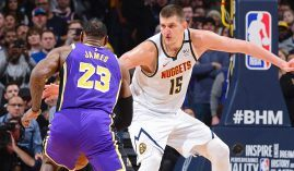 Nikola Jokic of the Denver Nuggets defends LeBron James of the LA Lakers in Denver. (Image: Porter Lambert/Getty)