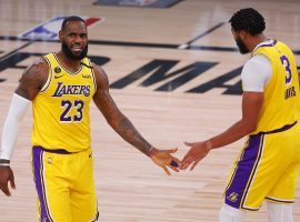 The LA Lakers dynamic duo of LeBron James and Anthony Davis are 1/2 odds to win the NBA championship. (Image: Mike Ehrmann/USA Today Sports)