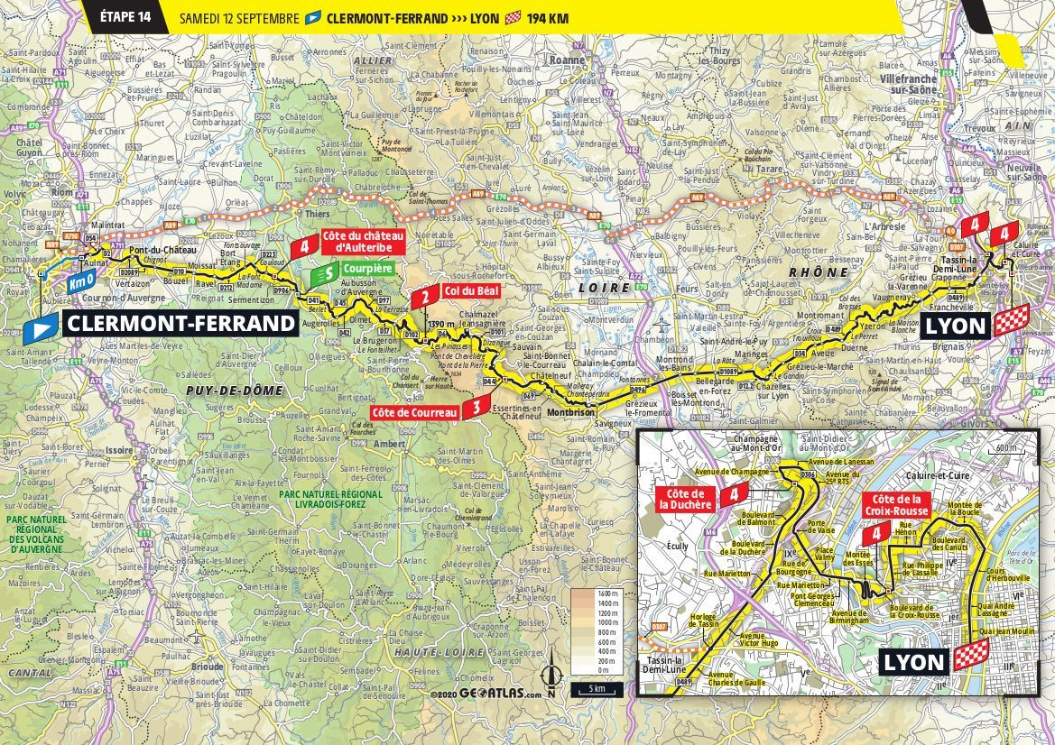 Map 2020 Tour de France Stage 14