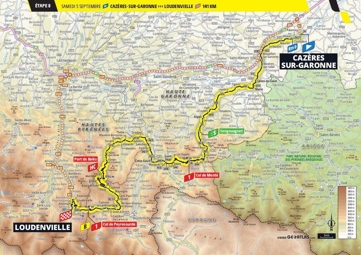 2020 Tour de France Map Stage 8 Cazeres-sur-Garonne Loudenvielle