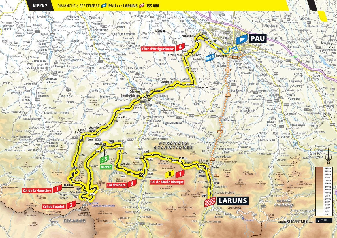 Tour de France Stage 9 Map 2020 Pau > La Runs