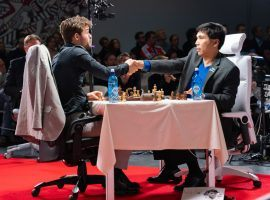 Magnus Carlsen (left) and Wesley So (right) will compete in the final of the Banter Series online chess tournament. (Image: Lennart Ootes/Chess.com)