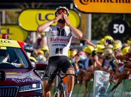 Switzerland's Marc Hirschi (Sunweb) reaches the finish line first at Stage 12 Sarran. (Image: AP)