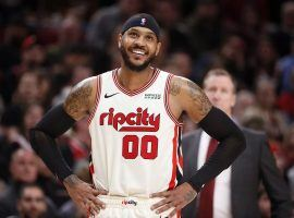 Portland Trail Blazers forward Carmelo Anthony at the Moda Center in 2020. (Image: Abbie Parr/Getty)