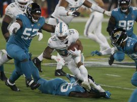 Dolphins running back Myles Gaskin carried the ball 22 times in Week 3, a good sign for his future value in DFS. (Image: Dolphin Nation)