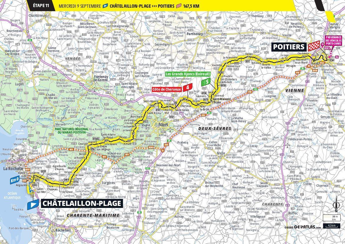 Map Stage 10 Tour de France 2020