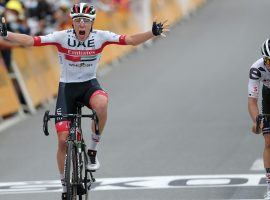Even Tadej Pogacar (UAE Team Emirates) cannot believe he held off Primoz Roglic (Jumbo-Visma) to win Stage 9 of the Tour de France at Le Runs. (Image: AP)
