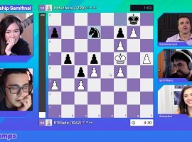 Hafu defeated TFBlade in their Pogchamps 2 semifinal after surviving a wild endgame in Game 2 of the match. (Image: Chess.com)