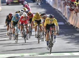 Primoz Roglic reaches the finish line first at Orcieres-Merlett in Stage 4. (Image: Anne-Christine Poujjular/AP)