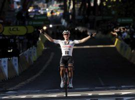 Soren Kragh Andersen (Team Sunweb) won an unopposed sprint finish at Stage 13 in Lyon. (Image: AP)