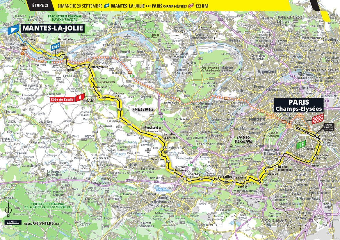 Map Stage 21 Paris 2020 Tour de France Le