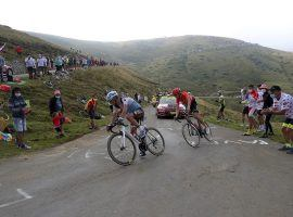 Nans Peters (ALM) fends off Ilnur Zakarian in the Pyrenees to win Stage 8 of the Tour de France. (Image: AP)