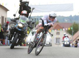 Tadej Pogacar rides to a third stage win during a time trial at Stage 20 to seize the overall yellow jersey in the 2020 Tour de France. (Image: Thibault Camus/AP)