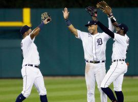 Detroit Tigers outfielders Jorge Bonifacio and Victor Reyes celebrate a victory in Comerica Park. (Image: Getty)