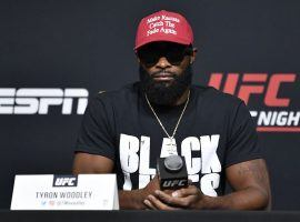 Former welterweight champion Tyron Woodley (pictured) takes on Colby Covington in the main event of UFC Fight Night 178. (Image: Jeff Bottari/Zuffa)